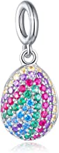 FOREVER QUEEN Easter Egg Charm, 925 Sterling Silver Colorful Happy Easter Faberge Egg Pendant Dangle Charm Bead fit Bracelet Necklace for Women Girls Mother Children