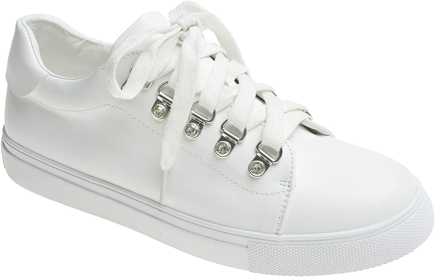AnnaKastle Womens Faux Crystal Eyelets Lace Up Fashion Sneakers