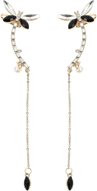 VALICLUD 1 Pair Climber Long Drop Dangle Earring Butterfly Clip on Earrings Crystal Earrings Clip for Women Girls Ear Jewelry Decor