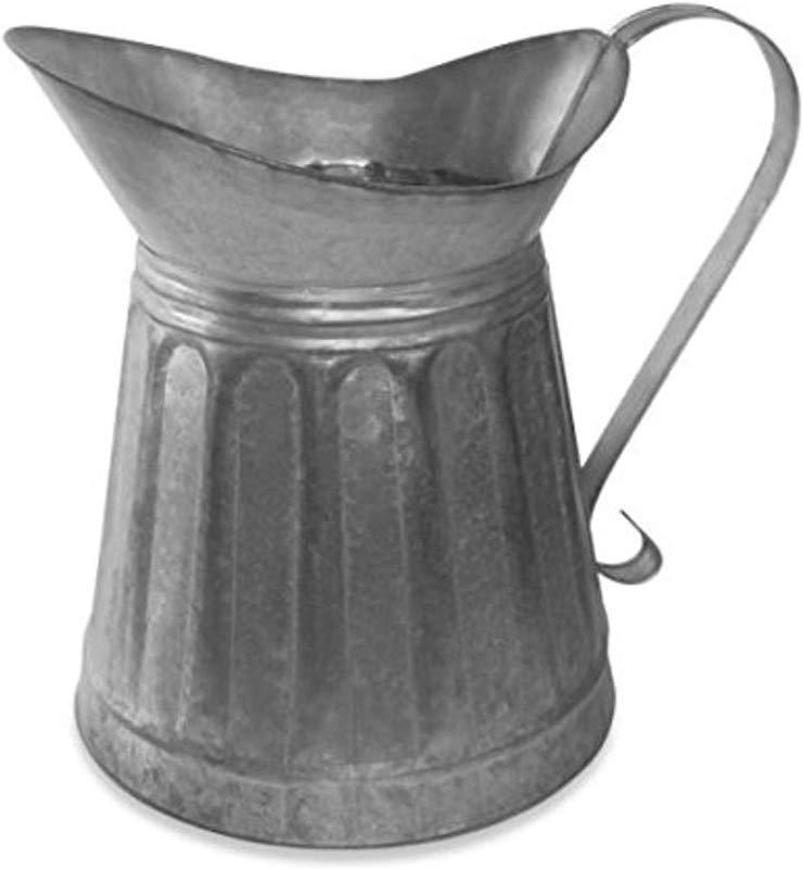 Benzara AMC0004 Vintage Style Galvanized Metal Milk Pitcher Gray