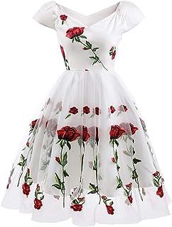 فساتين عيد الحب للنساء عتيقة مطرزة بالزهور الوردية لحفلات الزفاف والكوكتيل والأمسيات من التول ولحفلات الرقص