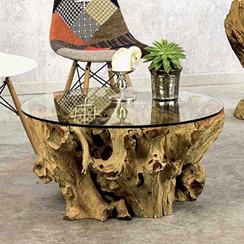 Pharao24 Design Couchtisch aus Teak Wurzel mit runder Glasplatte
