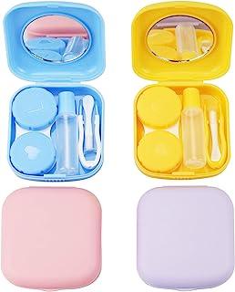 کیف لنز تماسی 4PCS ، ظرف نگهدارنده جعبه لنز رنگی ، کیت ذخیره سازی لنز خنک کننده لنز تماس با آینه برای سفر
