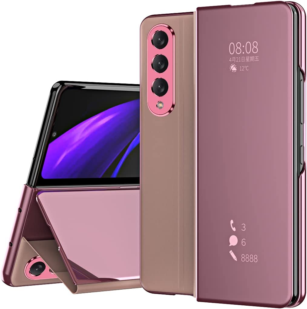 DEMCERT for Samsung Galaxy Z Fold 3 Case, Flip Mirror Surface Full Protection Cover PU Leather Hybrid PC Protection Cover for Samsung Galaxy Z Fold 3 5G (Pink)