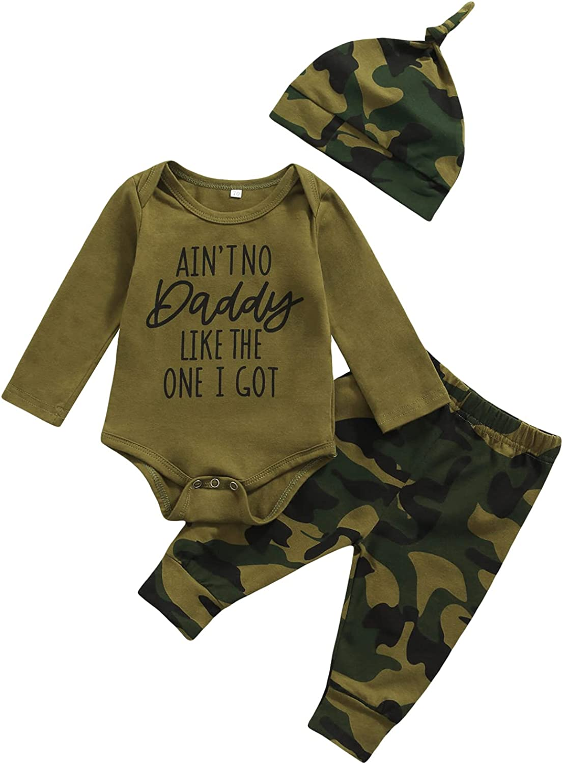 Winter Newborn Infant Baby Girl Boy Clothes Camouflage Outfit Letter Print Romper Camo Pant Hat 3Pcs Toddler Girl Clothes