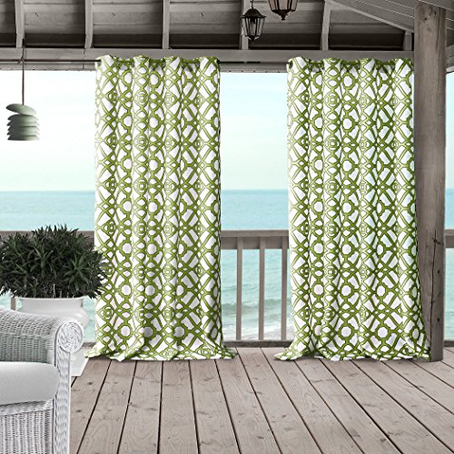 """Elrene Home Fashions Marin Indoor/Outdoor Geometric Ironwork Print Grommet Window Curtain Panel for Patio, Pergola, Porch, Deck, and Lanai, 50"""" x 84"""" (1, Green"""