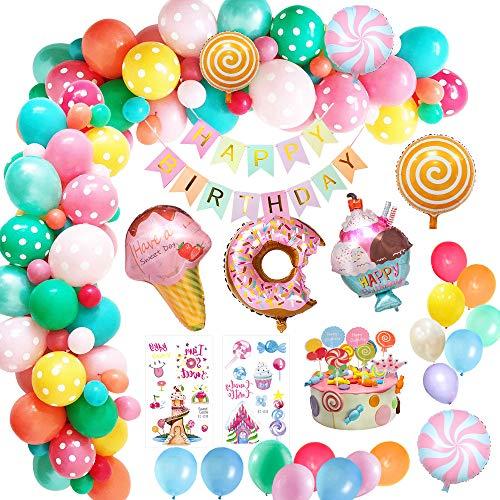 🍭🍨【Decoración de fiesta Candyland】- Si quieres tener una dulce fiesta para tus novios o familiares, ¡te tenemos cubierto! Sí, esos globos de puntos hacen que el set sea más onírico con nuestra piruleta, helado, donut y sí, esos son adorables globos q...
