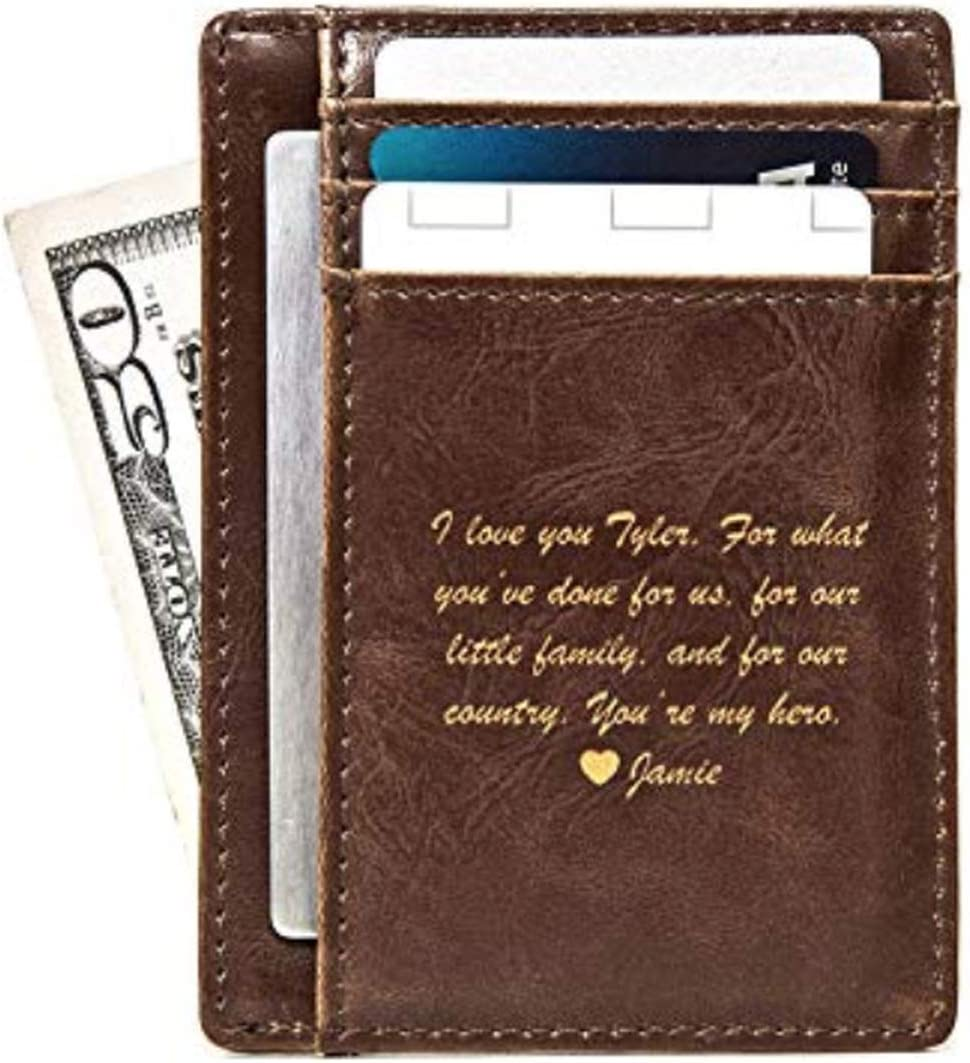 Swanky Badger Men's Slim Front Pocket Wallet, Leather, Thin (Brown Message)