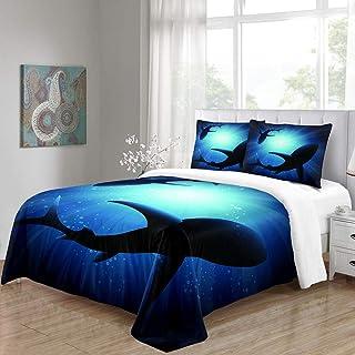 Funda de Edredón Mar Azul Sol Delfines Juego de Colcha Poliéster con Cremallera Oculta, Ropa de Cama con 1 Funda Nórdica y 2 Funda de Almohada para Infantil Niño Niña, 3 Piezas, 260x220cm