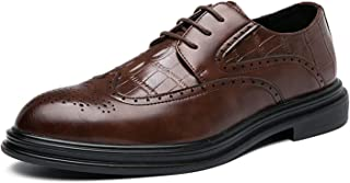 Zapatos casuales Zapatos de Oxford de los Hombres, Cuero de PU vintage y alas de tela en relieve de cocodrilo, tacón de co...
