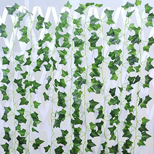 JIujiuwanli Artificial Ivy, Artificial Ivy Garland,Ivy Garland Fake Ivy UV Resistant Fake Vine Green Leaves Fake Plants Hanging Vine Plant for Wedding Party Garden Wall Decoration (Green)