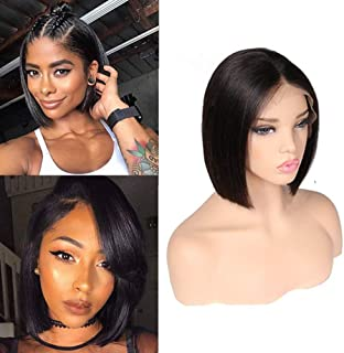 72ba84ab76b ITODAY Bob Wig For Black Women Brazilian Straight Remy Hair 130% Density  Natural Hairline Baby