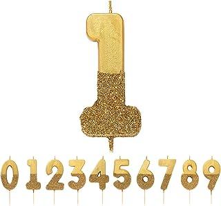 Gouden glitter nummer 1 verjaardagskaars |Premium kwaliteit taarttopper decoratie |Mooi, sprankelend voor kinderen, volwa...