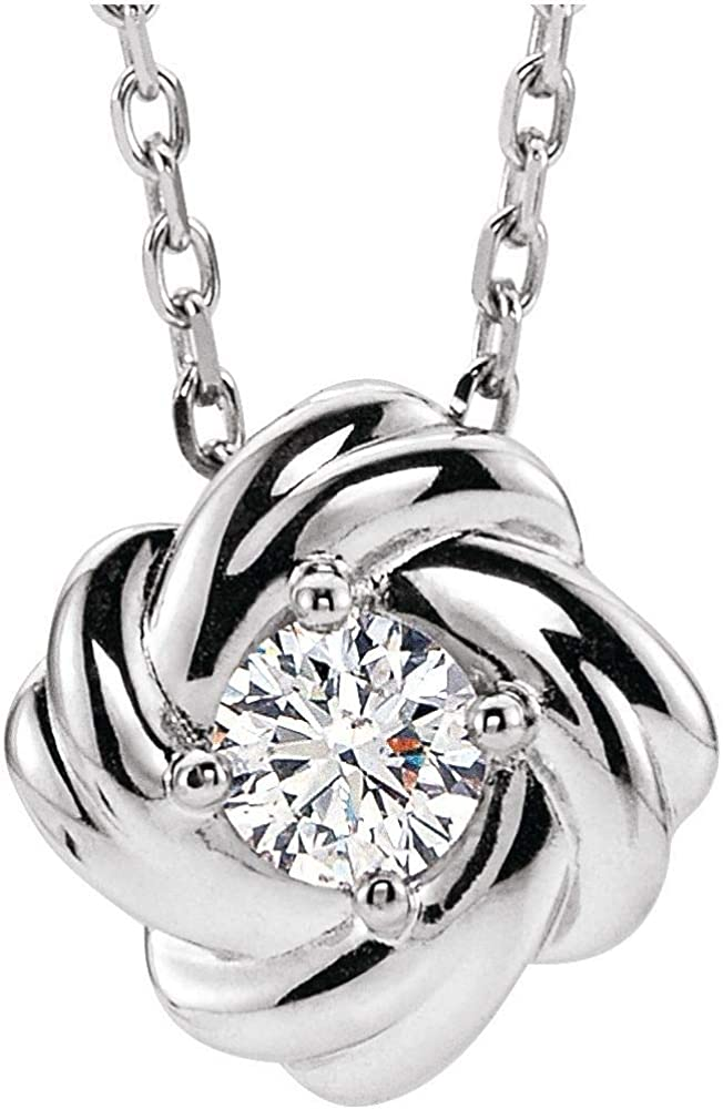 Solitaire 1/6 Cttw Diamond Forever Love Knot Infinity Twist Promise Charm Pendant Chain Necklace Adjustable 16