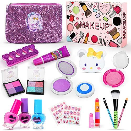 Jojoin Trucchi Bambina Set, 19 Pezzi Lavabile Makeup Set per I Bambini con 2 Clip di Colore, 3 Smalto per Unghie di Cuore, 2 Adesivi per Unghie e Sacchetto Cosmetico