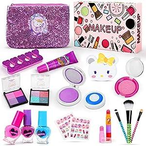 Jojoin 19PCS Maquillaje Niña, Maquillaje para Niñas Lavables, 2 Horquilla, 2 Sombra de Ojos, 1 Lápiz Labial, 3 Esmalte…