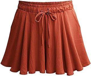 Women's Casual High Elastic Waist Drawstring Wide Leg Flowy Culottes Shorts