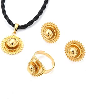 Necklace Pendants Earrings Ring Set Gold Filled Plated Jewelry African Ethiopia Flower Jewelry Set