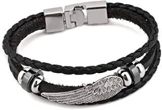 CLY Jewelry Leather Braided Wrap Bracelet Black Unique Design Cuff Bracelet Fashion Casual for Women Cool Style for Men