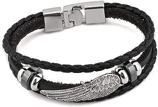 Gypsy Boho Hippie Bohemian Hooked Dream Angel Wing Black Leather Braided Rope Bracelets for Women Men
