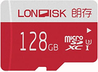 LONDISK 128GB Micro SD Card 4K U3 SDXC Memory Card for Video/Dash Camera/GoPro SD Card 128 GB with Free Adapter(U3 128GB)