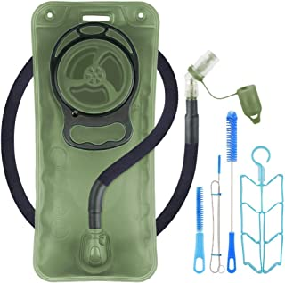 Hydration Bladder 2L Leakproof 2 Liter Water Reservoir, BPA Free Military Green Water Storage Bladder Bag with Insulated T...
