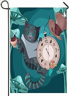 Ahawoso Outdoor Garden Flag 12x18 Inches Cute Alice Cheshire Cat On Wonderland Designs Clock Drawing Fantasy Magic Tea Journey Seasonal Home Decorative House Yard Sign