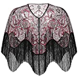 BABEYOND 1920s Shawl Wraps Gatsby Beaded Evening Cape Bridal Shawl for Evening Dresses Wedding Party (Wine Red)