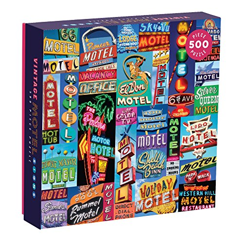 Galison Vintage Motel Signs 500 Piece Jigsaw Puzzle for Adults, Classic Family Puzzle with 500 Pieces and Vintage Artwork
