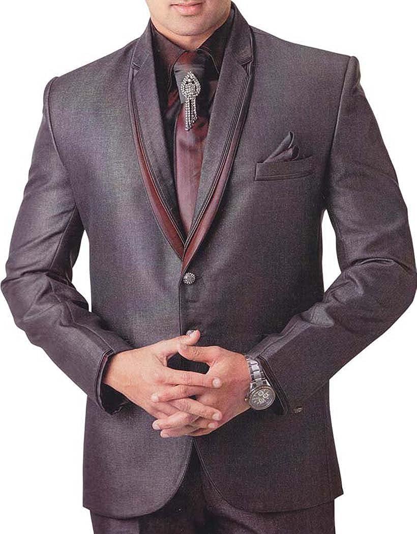 INMONARCH Mens Purple Gray 6 Pc Tuxedo Suit Festival Partywear TX738