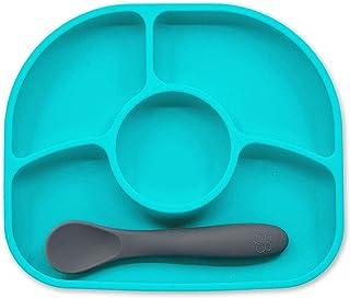 bbluv - Yümi - Anti-Spill Silicone Suction Plate & Spoon Set (Aqua)