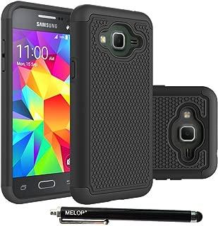 Melop Galaxy J3 case, Hybrid Dual Layer Shock Absorbing Armor Ultra Defender Protective Case Cover for Samsung Galaxy J3 (2016) Amp Prime, J3V, Express Prime, Sol - Black