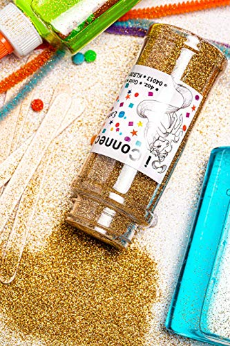 iConnectWith Glitter – Gold, Extra Fine Holographic Glitter; Multi-use for Crafts, Decorations, Nail Art, Makeup, Tumblers, Resin Art, and DIY Projects