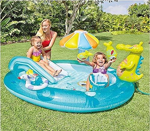 LIJUEZL Kann Wasser versprühen Kinder aufblasbaren Pool WasserSpaß mit Slide Baby Swim Pool-Light Portable für 3 Jahre alt Kinder