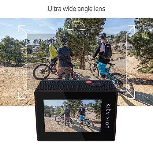 Kitvision Escape 4K Action Camera Ultra-High Definition Action Camera with Wi-Fi and Mounting Accessories, 120 fps/12 MP, Waterproof Up to 30 m-2 Inch LCD Display and High Quality Microphone