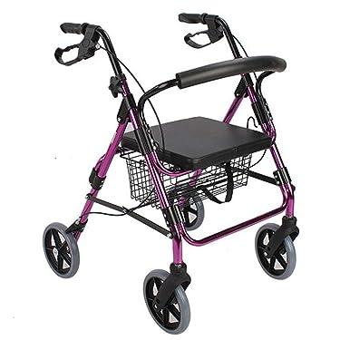 Aluminum Alloy Folding Shopping Cart Elderly Trolley Walking Car with Seat Four Wheel Walker