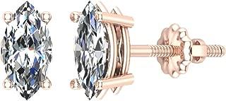 14K Gold Diamond Stud Earrings Marquise Cut Earth-mined