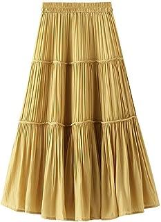 ZJMIYJ Kjolar för kvinnor – enfärgad kjol i lager hög midja veckad elastisk mjuk cool midi-kjolar dam casual sommar kvinno...