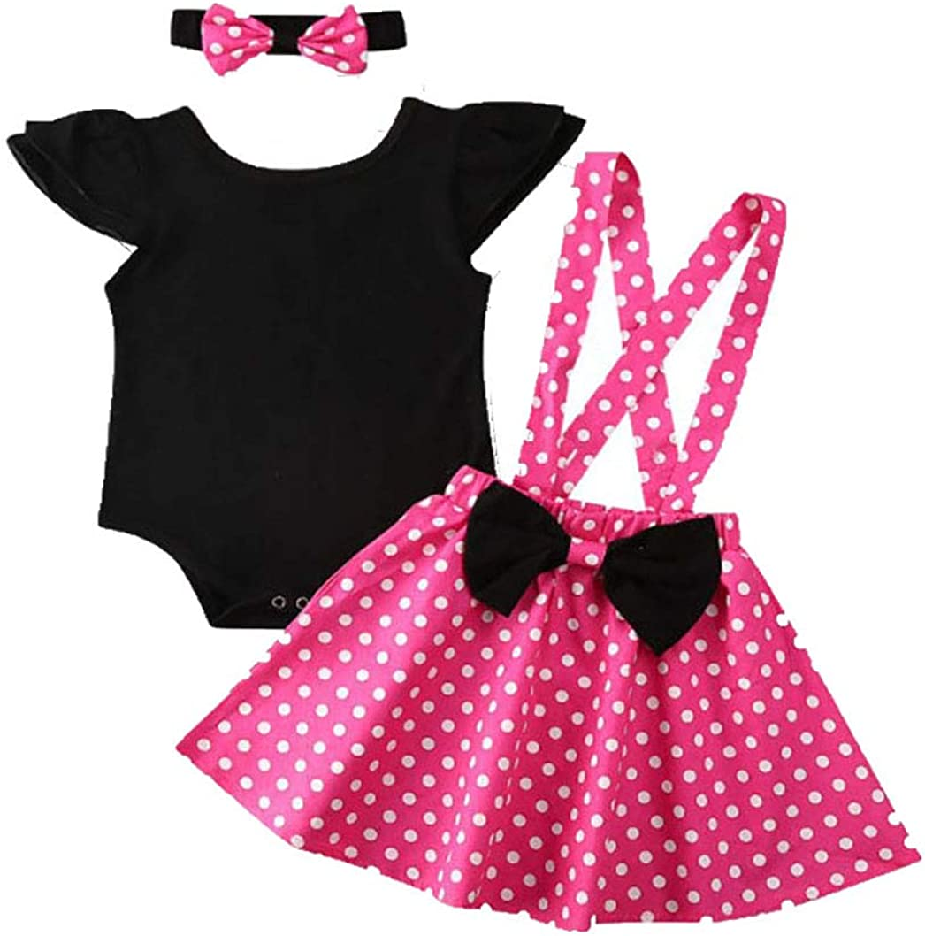 Baby Toddler Girls Ruffles Disney Dress Overall, Cartoon Bow Casual Polka Dot Skirt Set Playwear Outfits (Pink, 2-3Y)