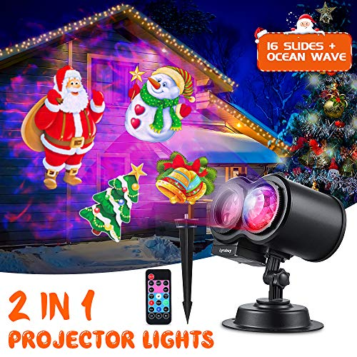 LYRABAY Christmas Outdoor Projector Lights, Xmas LED Light Proejctor for Party Halloween Birthday...