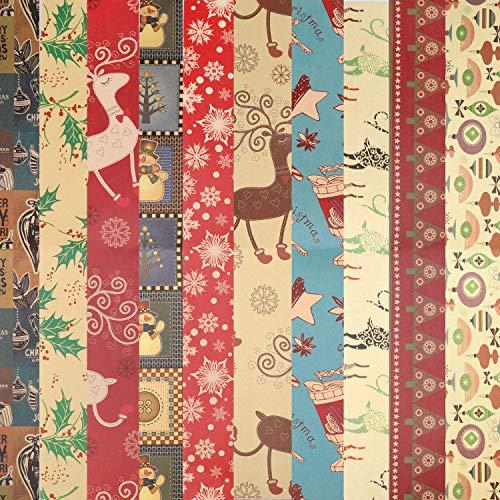 HOWAF Papel Kraft para Envolver Navidad, 10 Hojas de Papel para Envolver Regalos, 10 diseños Surtido, Navidad Papel para Regalo de Fiesta navideña, 74 cm x 51 cm