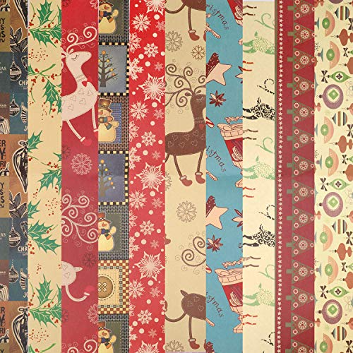 HOWAF 10 x Large Sheets Christmas Kraft Wrapping Paper Recyclable Wrap Paper, 74 cm x 51cm, 10 Xmas Wrapping Paper - Snowman, Snowflake, Santa, Christmas Tree, Reindeer, Etc