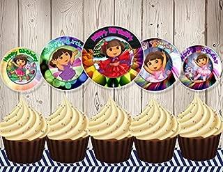 12 Happy Birthday Dora The Explorer Inspired Party Picks, Cupcake Picks, Cupcake Toppers #1