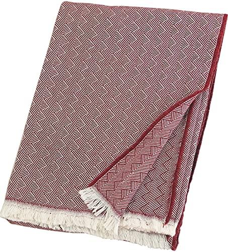 Lange Fischgrat Baumwolldecke 'Light Cotton', Plaid 100prozent Baumwolle mit Fransen 140x205 cm, Wohndecke, Kuscheldecke, Tagesdecke, Sofadecke (dunkelrot-Creme)