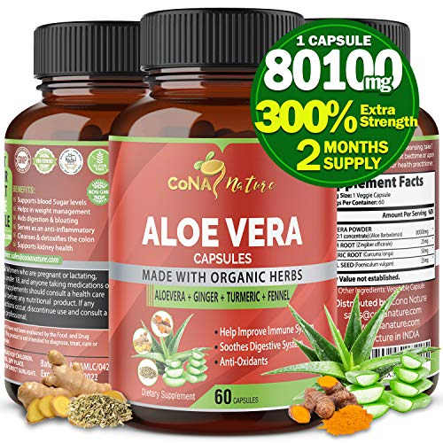 Organic Aloe Vera Capsules 80100MG with Turmeric, Ginger, Fennel | Support Immune and Digestion System | Natural Anti-Inflammatory, Antioxidants| Multi Nutrients, Vitamins, Minerals Supplement Extract