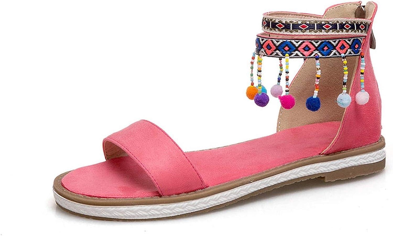Women Sandals Zipper Round Toe Women shoes Square Low Heel All Match Women Sandals 34-43
