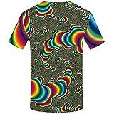 Colorido Estampado geométrico 3D patrón de Doble Cara Cuello Redondo Color S,Hombre 3D Print Camisetas Moda Manga Corta Tees Round Neck Top Camisa