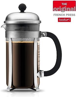 Bodum Chambord - Cafetera de Prensa Francesa, Cristal, Mate Cromo, 1L