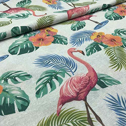 Tela por metros de loneta estampada - Ancho 280 cm - Largo a elección de 50 en 50 cm | Flamencos y flores - Rosa, verde, azul, blanco