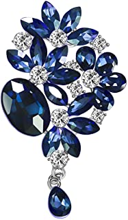 Mecool Broches Pin Flor Hoja Ramo Broche Creado Cristal Broche-Azul